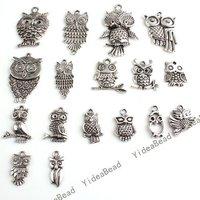 68 New Mixed 17 Design Zinc alloy Owl Charms Pendants Beads METAL Pandent Loop Bead Fit DIY Handcraft 140669