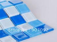 Free shipping bathroom blue glass mosaic tiles,pool blue mosaic tiles!