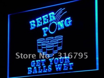 i939-b Beer Pong Get Your Balls Wet Neon Light Sign