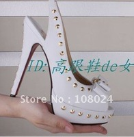 Wholesale - Hot sales with studs Women's shoes black goatskin Women's high heel pumps shoes /women's sandals
