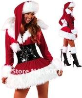 Stretch Velvet Lingerie Costume Sexy Cheap Christmas Costume Santa dress Free Shipping LC7131