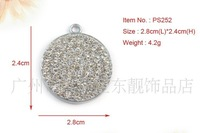 2.8*2.4cm dog  circles charm full with diamonds id tag can engrave on the back