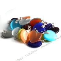 40x Mixed Colorful Heart  Charms Cat's Eye Pendants Opal pendant Have in Stock Fit Necklaces 140551