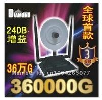 Factory Price DHL Free Shipping 24DBi 2000mw 3 antenna black-diamond 360000G USB Wireless wifi Adapter PSP wifi HOT Sale