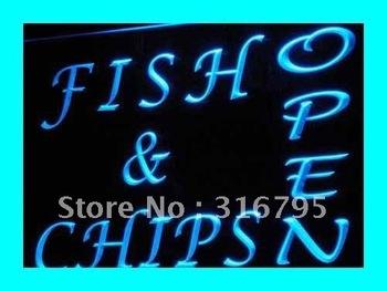 i174-b OPEN Fish Chips Cafe Restaurant Neon Light Sign
