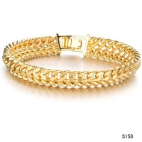 2015 Wedding Bracelet Classic Chain Bracelet 18K GOLD BANGLES men gold bracelet link 11MM wedding jewellery pulseira ouro, 158