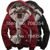 Free Shipping!100% Cotton Men's Casual Villus Inside Upset Warm Hoody Sweater/Woven Coat 47