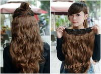 Free shipping light brown wig extension hairpiece soft hair long wavy 24'' 5clips on full head100g