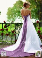 Sexy Sleeveless Chapel Train bride dresses beading  embroidery chapel train gown wedding dress