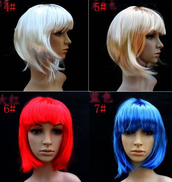 Free shipping ,Fashion Bob Short Wigs, Party Costumes, Performance Wigs for Chrismas and festival,14 colors(can be mixed) retail(China (Mainland))