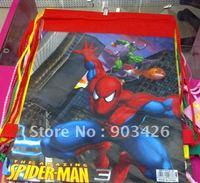 Free shipping! fashion spiderman dawstring backpack drawstring bag cartoon school bag G0518