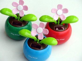 Wholesale - free shipping flip flap solar flower, Solar Powered Flower Flowerpot, 30pcs/lot