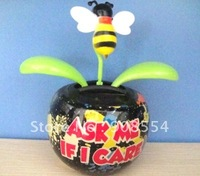 Wholesale Free Shipping 10 Pcs Per Lot  Bee Top  Shakig No Water No Battery solar powered dancing flower toys
