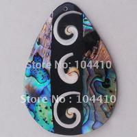 New MOP Abalone Shell Black Stone Shell Teardrop Pendant Bead Wholesale