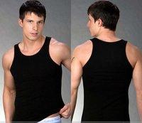 New arrival Free shipping Non-sleeve Fashion sexy MEN undershirt,men Vest ,solid black,10pcs/lot