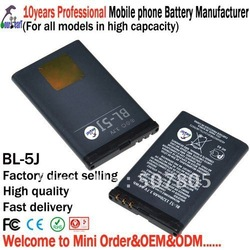 Free shipping - 20 pcs/lot - BL-5J mobile battery for Nokia phone 5802XM 5900XM N900 X6 5233 C3 C3-00 5235 - 800mAh(China (Mainland))