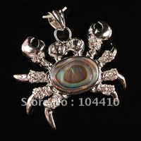 Free Shipping! K-Gold plated Copper Abalone Shell Rhinestone Crab Pendants Beads Gemstone Jewelry for Necklaces Wholesale