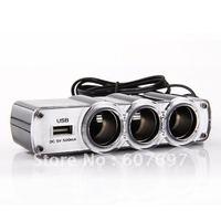 3 Triple Socket 12V/24V Car Cigarette Lighter USB Power