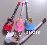 Promotion pen,Cartoon color guitar ball point pen cartoon ballpoint pens free EMS shipping