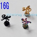 Anodized 3D lizard ear stud stud earring mixing colors XIXI