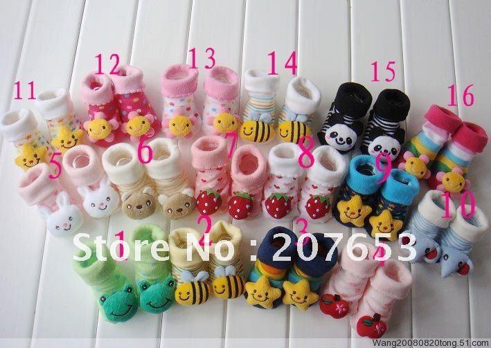 Free shipping 20pair/lot stereo animal design children cotton socks, baby socks, baby anti slip shoes socks(China (Mainland))