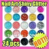 Freeshipping 24pcs/set Nail Art Shiny Glitter Powder Glitter Chips Nail Glitter Nail Accessories Nail Decoration