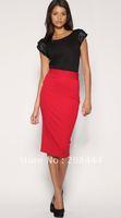 brand new knee length OL commute dress,full sleeves career dress cotton dresses, blue, rosy with belt IR078