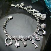 fashion jewelry,925 sterling silver Bracelets&bracelet,925 jewelry,13 Charm,925 sterling jewelry,Brand New B82