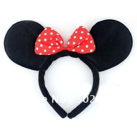 Black Mickey Headband Red Bow Halloween Party Costume Headdress. Free Shipping. 40 pcs