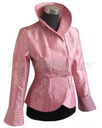 Silk Satin Embroider Jacket Coat Flowers M3XL Cream Burgundy Pink