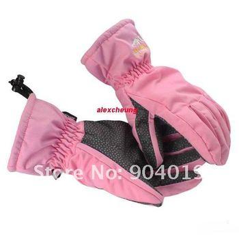 Pink Waterproof Breathable Non-slip Snow Ski Gloves S M L