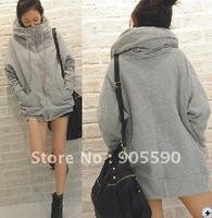wholesale Koren gray hooded  sweater coat, ,ladie's winter zip  hoodie coat free shipping