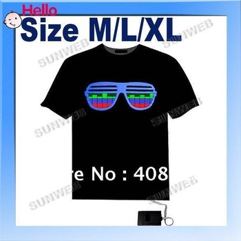 EL T-Shirt Sound Activated Flashing T Shirt Light Up Down Music Party Equalizer LED T-Shirt Dropshipping Free Shipping  3120
