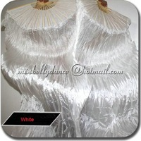 Free shipping 100% Real Silk Fan Veil for Belly Dance Belly Dance White Silk Fan Veil