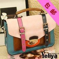2011 women's fashion spell autique color leather handbag bag