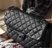 lady's classic clutch shoulder bag handbag quilting chain cross