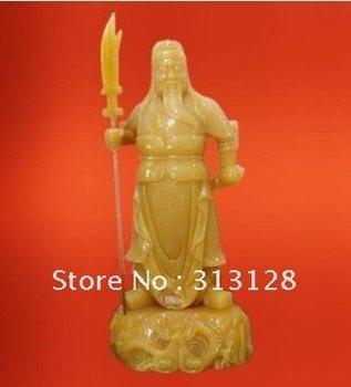 image of emperor Guanyu beige jade craft