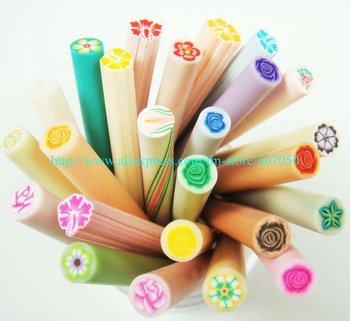 Free Shipping100pcs/lot Flower Polymer Clay Cane Nail Art Fower Fruit Cane Nail Fruit Sticker Soft Ceramic Nail Sticker
