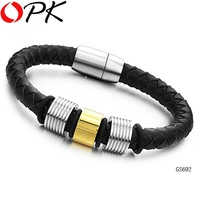 OPK JEWELRY STAINLESS STEEL BRACELET Leather bracelet Gold color Christmas JewelryFREE SHIPPING  gift Retailer  big size  692