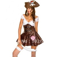 Womens Sexy Pirates Costumes Halloween Brown And White Free Shipping