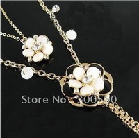 New arrival !! Fashion Double shell flowers necklace sweater chain . 24pcs/lot.Free shipping