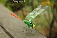 Handicrafted Home Decor ECO Clay Dragonfly Refrigerator Magnet Sticker Green 14x9cm Holiday Gift 120pcs Mixed Lot Free Shipping