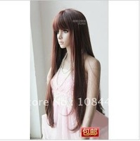 Wholesale and retail Vivian wig long straight neat bang wig sets