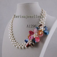 wholesale Elegant necklace white fresh water pearl necklace beautiful flower jewelry 1pcs/lot free shipping A1296