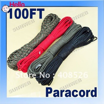 Rope Cord Parachute Cord Paracord 330lb 7 Strand 100FT, Dynamic Safety rope,Auxiliary Accessory Cord,Climbing 3164