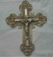 RARE tibet silver statue: Crucifixes Cross decorate BY EMS Free shipping