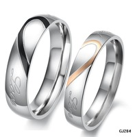 Min order 10$ (mix order) his and hers promise ring sets,Fashion ,Korean Couple Stainless Steel Engagement Wedding Rings 284