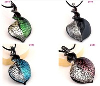8 Bicolor Knob Heart Murano Lampwork Art Glass Pendant bead Necklace p581-84