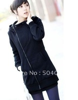 Promotional !!!Hot sale Women's Coat Lady's Fashion oblique thick collar zipper Hoodies Sweatshirts Girl's long sections jacket