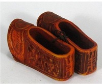 Rare pair Carved art bone shoes statue 100% free shipping